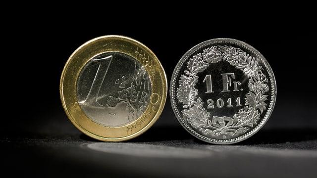 Symbolbild: Euro- und Frankenstück.