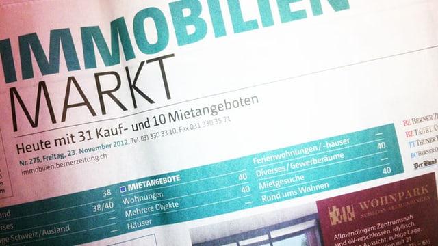 Inserate in der Berner Zeitung.