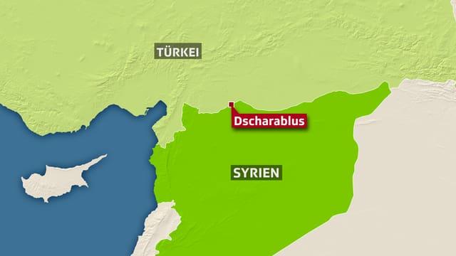 Karte vom Grenzgebiet Türkei/Syrien.