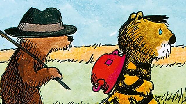 Illustration eines Bären und eines Tigers