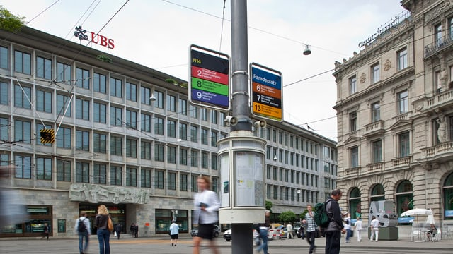 paradeplatz a turitg cun ubs e credit svizzer