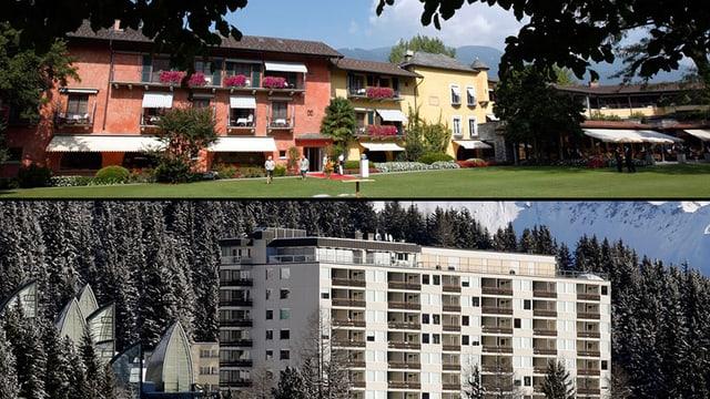 Ein Tesinner Hotel im Sommer und ein Bündner Hotel im Winter.