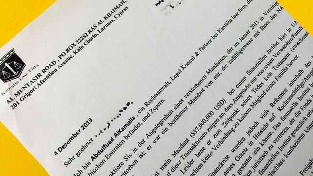 Brief mit Briefkopf einer Anwaltskanzlei