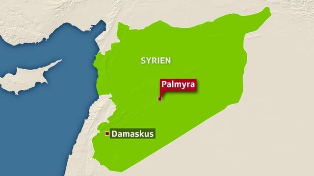 Karte von Syrien, rot markiert Palmyra, nordöstlich von Damaskus