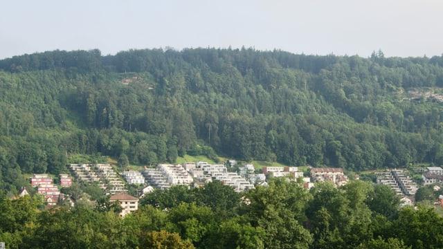 Eine Wohnsiedlung an einem Berg