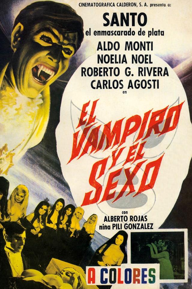 Ein Filmposter: Links ist ein Vampir mit offenem Mund und scharfen Zähnen.