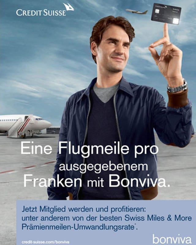 Werbeplakat mit Roger Federer.