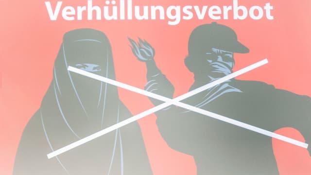 Plakat, roter Hintergrund, Verhüllte Frau und vermummter Mann schwarz gezeichnet. Mit weisser Farbe durchgestrichen.