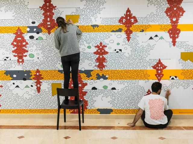 Ein abstraktes Wandbild.