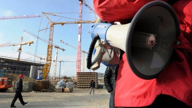 Streik auf einer Baustelle