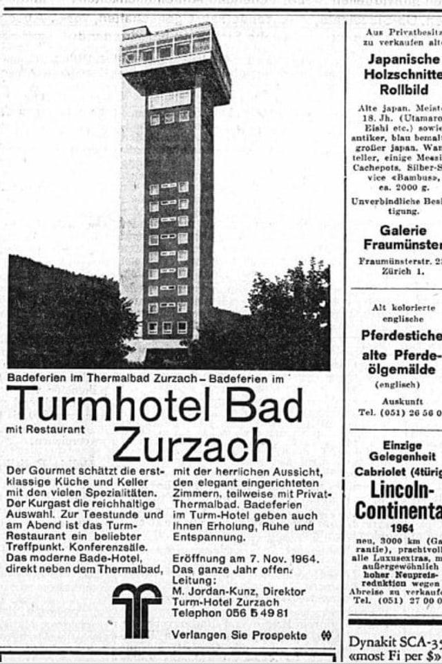 Werbeinserat aus Zeitung von 1964