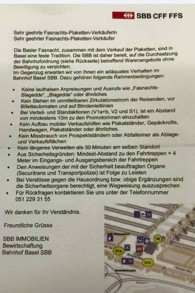 Schreiben der SBB an die Blaggedde-Verkäufer.