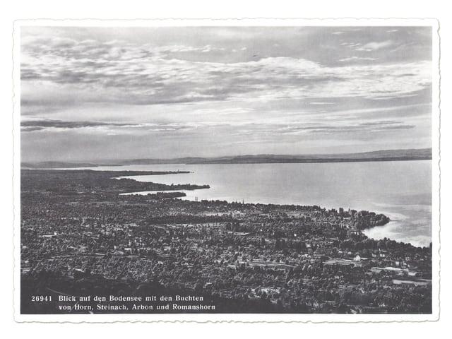 Alte Fotografie mit Blick auf den Bodensee.