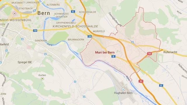 Eine Karte von Muri und dem Flughafen.