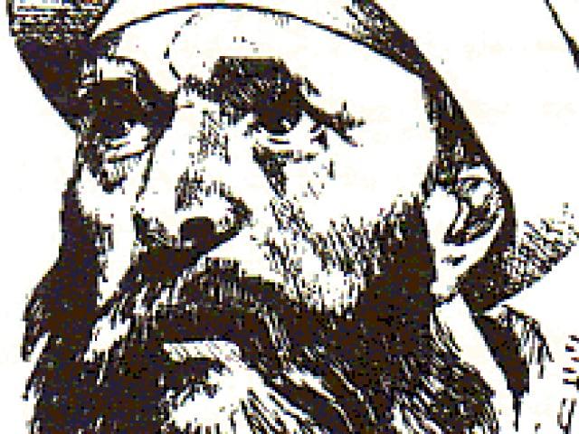 Zeichnung eines Philosophen mit Turban.