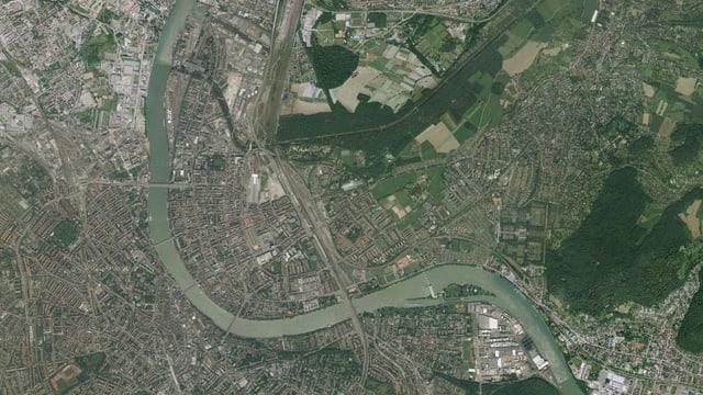 Satellitenaufnahme des Rheinknies