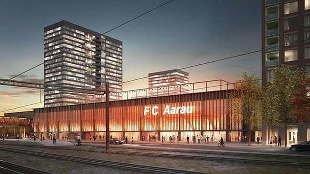 Die Visualisierung des Stadions Aarau mit den Hochäusern im Hintergrund