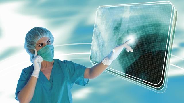 Grafik einer Frau in Operationskleidung, die auf ein Zouchpad klickt.
