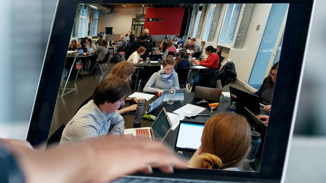 Bildschirmausschnitt auf dem Frauen an Computern zu sehen sind.