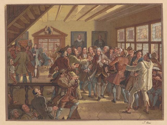 Ein altes Gemälde, auf dem eine Gruppe Männer streitet.