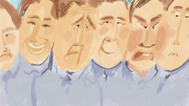Illustration von sechs Gesichern des gleichen Mannes mit unterschiedlicher Mimik.