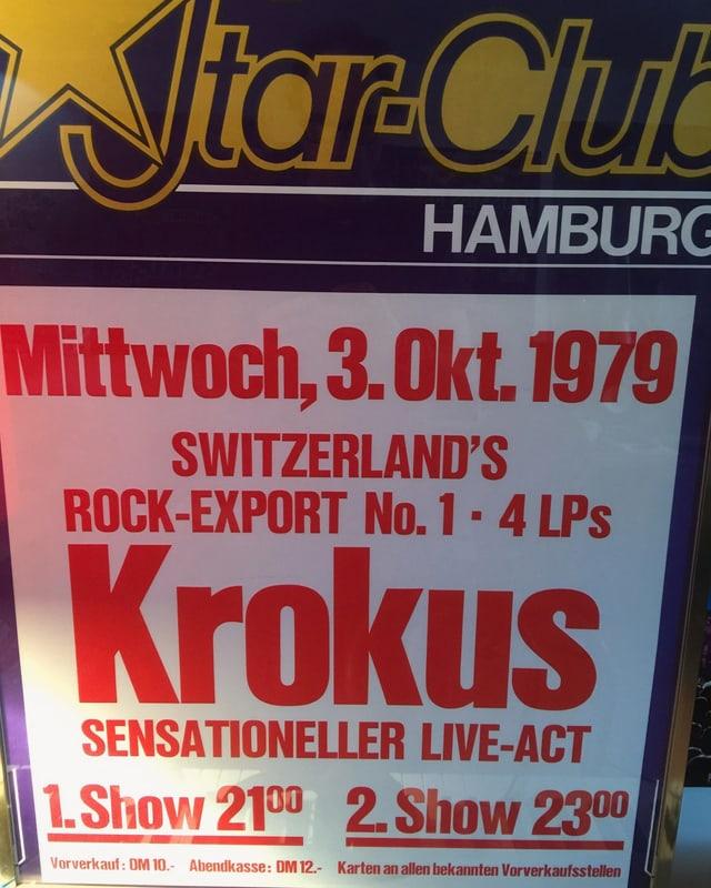 Ein Plakat, mit der Aufschrift: «Switzerland's Rock-Export No. 1: Krokus»