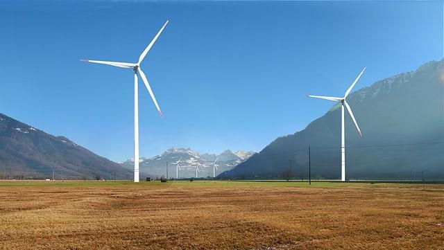 Visualisierung zweier Windräder auf der Linthebene