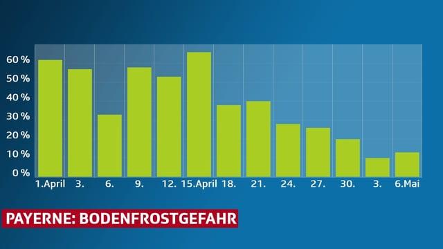 Im Balkendiagramm, Prozentangabe der Frostwahrscheinlichkeit für Payerne.