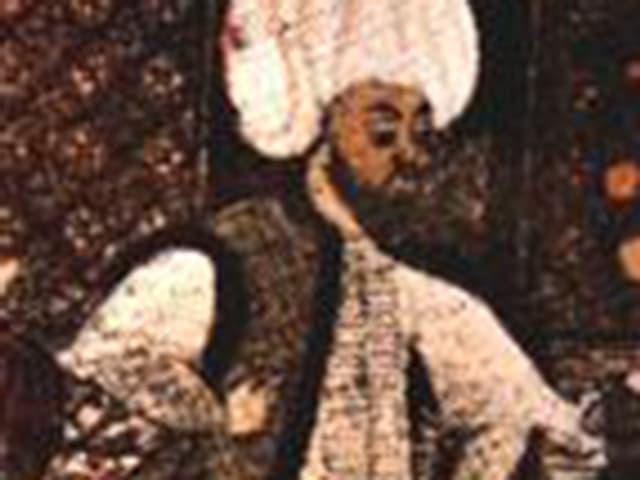 Illustration eines Philosophen. Er trägt einen weissen Turban.