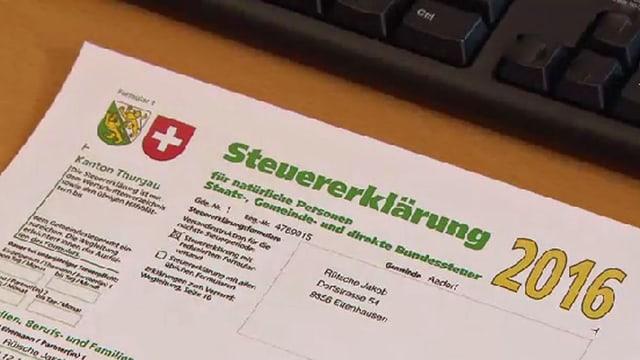 Steuererklärung des Kantons Thurgau 2016.