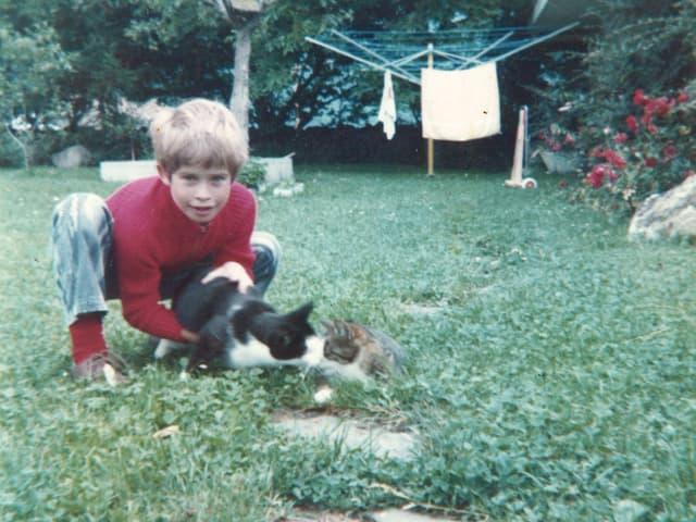 Junge spielt mit Katzen im Garten.