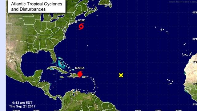 """Karte der Karibik mit Position von """"Maria"""" und """"José"""""""