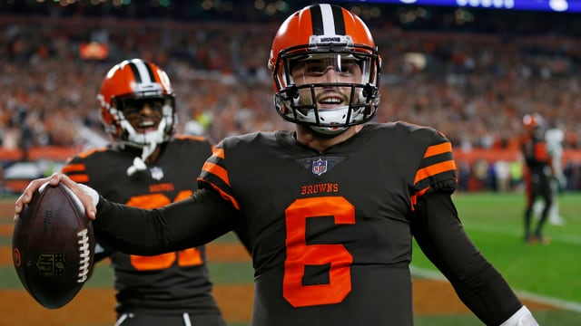 Baker Mayfield jubelt in die Kamera