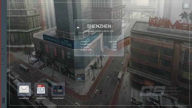 Ein Desktophintergrund ist der Blick auf eine Strassenecke.