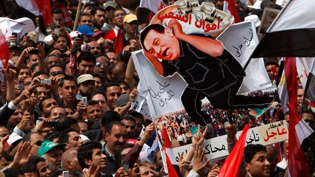 Anti-Mubarak.Demo in Kairo.