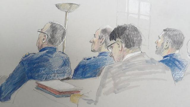 Zeichnung Szene im Gerichtssaaal der Gerichtszeichnerin