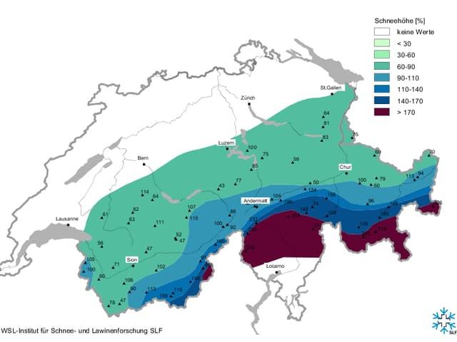 Am Alpensüdhang liegt über doppelt soviel Schnee wie im Durschschnitt anfangs Februar