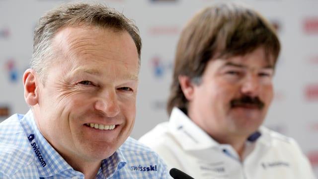 Hans Flatscher und Thomas Stauffer bei einer Pressekonferenz.