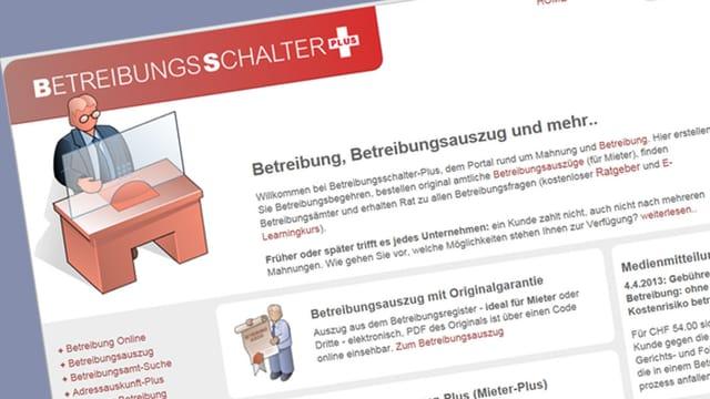 Screenshot der Internetseite Betreibungsschalter Plus