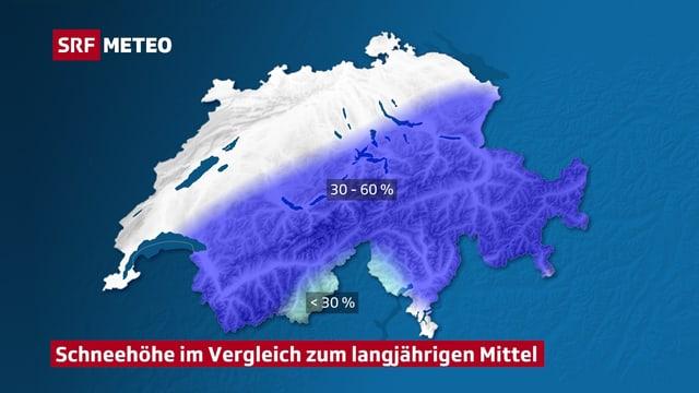 Schweizer Karte mit Schneehöhen im Vergleich zum langjährigen Durchschnitt.
