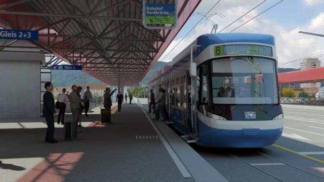 Visualisierung der neuen Tramführung über die Hardbrücke.