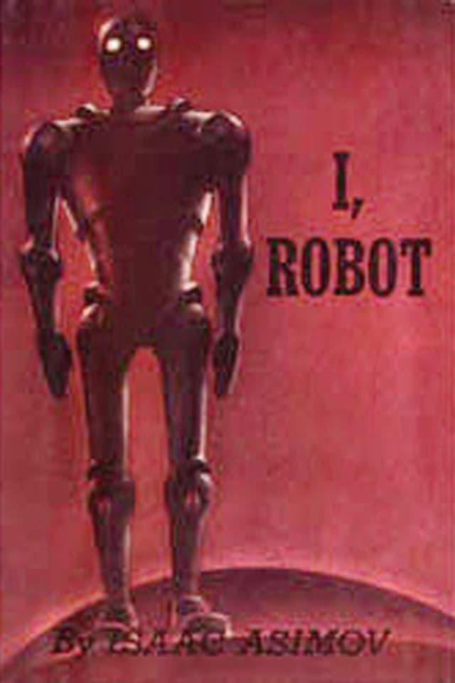 Ein dunkelroter Roboter mit weissen Augen vor rotem Hintergrund