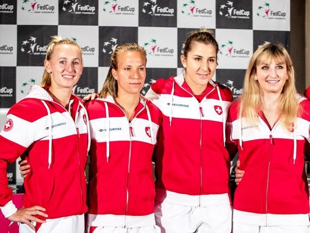 Gruppenbild mit Teichmann, Golubic, Bacsinszky und Bencic.