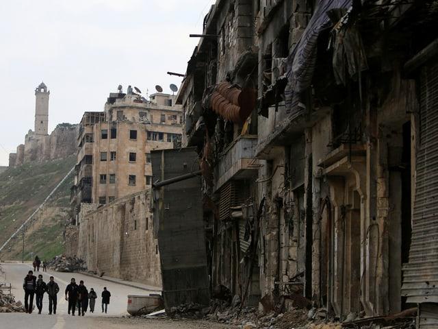 Die Altstadt von Aleppo, Blick auf die antike Zitadelle (Januar 2017)