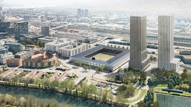 Eine Skizze zeigt den Bau des neuen Zürcher Fussballstadions. Daneben zwei hohe Wohntürme.