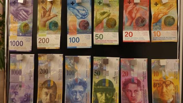 Alte und neue Banknoten, an ein Möbel gepinnt im Büro von Daniel Hanimann