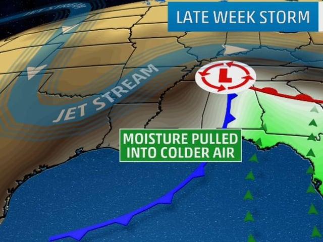 Grafik erklärt wie das Schneetief Jonas entsteht, Polarluft trift auf milde Karibikluft
