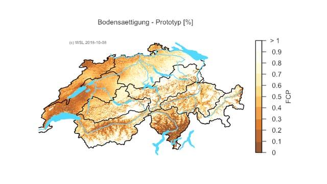 Eine Karte zeigt, wo der Boden trocken ist.
