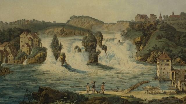 Tusche-Zeichnung und Aquarell von Johann Jakob Aschmann: Der Rheinfall.