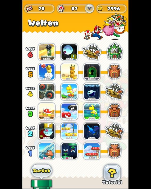 Die 24 Levels von Super Mario Run.